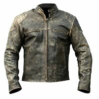 Biker Leather Jacket Antique Vintage Motorcycle Hooligan Brando Olive Distressed