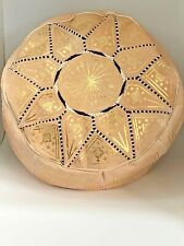 "Handmade Moroccan POUF Genuine Leather Pouffe Ottoman Footstool 20"" Diameter"
