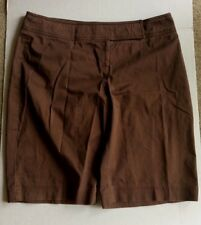 Briggs New York Brown Classic Button Hook Shorts Women's Sz 16