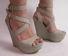 "New Look Taupe Size 6 Wedge Sandals Shoes Cross Ankle Strap 6"" High Heel #2R107"