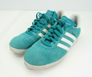 Adidas Mens Gazelle G96197 Teal Suede White Running Shoes Sneakers Sz 10.5 Blue
