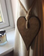 Pair Of Handmade Dark Wooden Long Heart Curtain Tie Backs With Jute Rope Tie