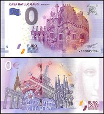 Zero - 0 Euro Europe, 2017 - 2 - 2nd Print,UNC,Casa Batllo Gaudi,Barcelona,Spain