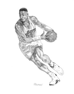 ALONZO MOURNING  CHARLOTTE HORNETS  REPRODUCTION LITHOGRAPH 8X10