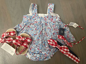 NWT Baby Gap girl red floral dress SUMMER shoes bow 3-piece SET 0 3 6 9 12 18 24