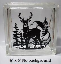 "Buck Scene hunting deer Decal sticker for DIY 8"" Glass Block Shadow Box"