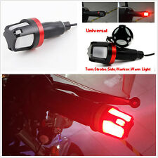 Motorcycle Handlebar Grip Bar End LED Side Marker Turn Signal Strobe RED 12V