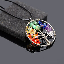 Rainbow Living Tree of Life Natural Stone Black Leather Chain Pendant Necklace