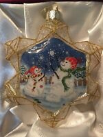 """""""Let It Snow"""" Snowflake/Snowman Glass Ornament Old World Christmas Collectible"""