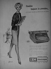 PUBLICITÉ IBM ÉLECTRIQUE MACHINE A ÉCRIRE LA PLUS VIVE DU MONDE CHARIOT RAPIDE