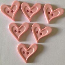 6 X Bright Cutesy Heart Buttons - Australian Supplier