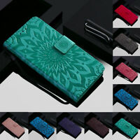 For Motorola Moto G7 Z4 Play Sunflower Leather Flip Wallet Card Stand Case Cover