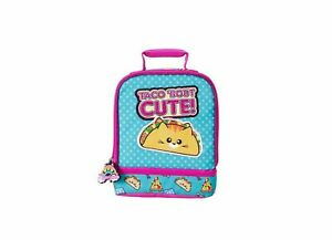 Meowgical Taco Bout Cute Dual Compartment Lunch Bag - Blue/Pink