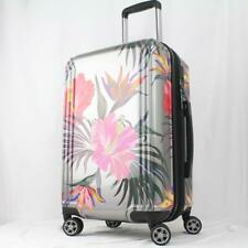 "TRIFORCE HAVANA 21"" EXPANDABLE HARDSIDE SPINNER CARRY ON SUITCASE SILVER FLORAL"