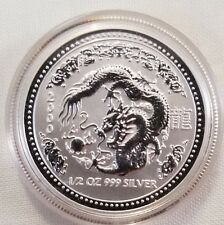 2000 australia 1/2 oz 999fine silver Dragon perth mint capsule USA seller