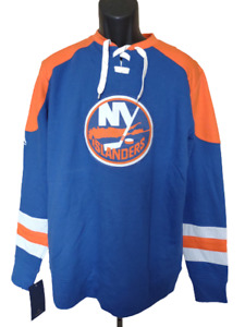 New Minor Flaw new York NY Islanders Mens Size M Medium Blue Majestic Sweatshirt