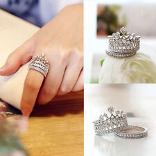 Womens Fashion Queen Crown Ring Set Rhinestones Two-piece Rings Natural