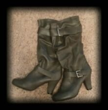 """XHILIRATION Gray Faux Leather Slouch Boots Mid Calf 3"""" Heels Womens sz 9.5 EUC"""