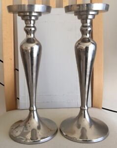 2 lovely solid nickel pillar candle holders,weight 712grms, please see photos