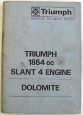 TRIUMPH Dolomite 1854cc Slant 4 Engine 1971 Service Training Notes Booklet