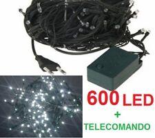 600 LED Natalizi.Luce bianca,filo verde. Albero Natale,presepe,luci.Bianco white