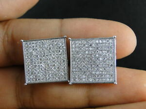 Large 925 Sterling Silver Cz Iced Square Hip Hop Screw Back Earrings For Men