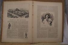 ESTAMPE 19è N&B A.DEROY Vue Panoramique HALLES Paris typogravure 1886 Gillot