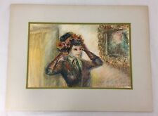 VINTAGE SIGNED FRIEDMAN PASTEL PORTRAIT WOMAN IN FLOWERED HAT BESIDE PAINTING