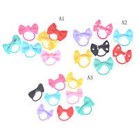 10x Little Girl Hair Ribbon Bow With Elastic Hair Bands Kids Hair Accessories XS