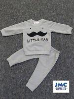 Boys Baby Toddlers Grey Little Man Mustache Tracksuit Littleman 3 - 24 Months
