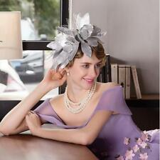 Classics Chic Women Elegant Derby Church Wedding Noble Dress Silver flowers hat