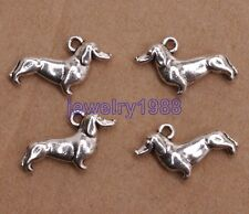 10pcs Tibetan Silver Charms Dachshund Dog Pendants 19x12mm F3122