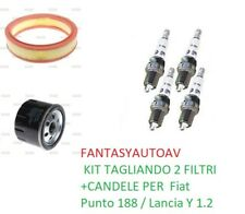 KIT TAGLIANDO 2 FILTRI +CANDELE PER  Fiat Punto 188 / Lancia Y 1.2 8V