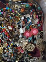 3 lbs Craft Jewelry Lot Vintage to Now  5 -10 Wearable Items Added Surprise Lot