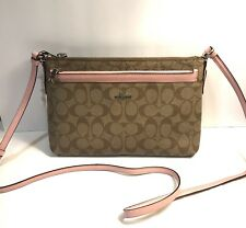 New Coach F58316 East/West Crossbody With Pop-Up Pouch  Signature Coated Canvas