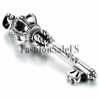 Men Women Stainless Steel Imperial Crown Key Charm Pendant Necklace With Chain