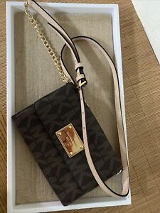 Michael Kors Signature Brown Wallet Crossbody Purse