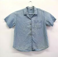 Cabin Creek Women's L Short Sleeve Button Up Casual Denim Shirt Top Light Blue