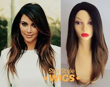 DELUXE KIM KARDASHIAN LONG BLACK BLONDE OMBRE DIP DYE HEAT RESISTANT FASHION WIG