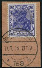 Libau Notausgabe Dt. Besetzung 1. WK 4 Ab Briefstück 17.1.1919 Schlegel BPP / 7
