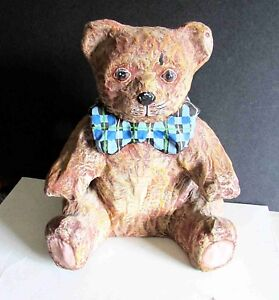 "Vintage hand painted paper mache teddy bear with plaid bow 12"" holiday FREE SH"