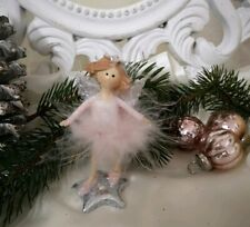 Angel Decorative Figurine Spring Pink Christmas Shabby Vintage 3 7/8in
