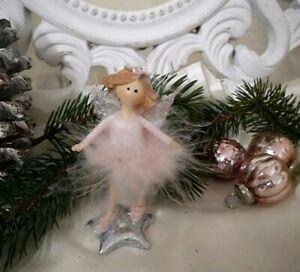 Angel Decorative Figurine Spring Pink Christmas Shabby Vintage 10cm