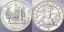 500 LIRE 1989 V CENTENARIO DELLA SCOPERTA DELL'AEMRICA ITALIA ITALY ARGENTO#2819
