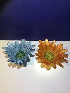 Murano Style Art Glass Flower Bowl Modern Carnival Glass