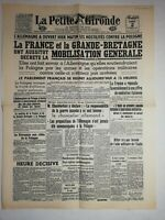N1163 La Une Du Journal la petit gironde 2 septembre 1939 France grande-bretagne