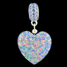 Alducchi Lavender Rainbow lab Opal Puffy Heart- Crystal .925 Silver Dangle Charm