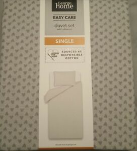 Single Size Duvet Set - Grey Hearts - Reversible George Home Easy Care - NEW