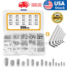 Us Stock 300pcs Stainless Steel Allen Head Socket Hex Grub Screw Kit M3 M4 M5 M6