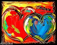 HEARTS  IMPRESSIONIST LARGE ORIGINAL OIL  PAINTING - POP ART  TSWEF